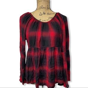 Copper Key Black Red Checkered Blouse